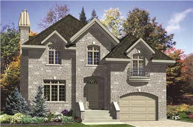 3-Bedroom, 1815 Sq Ft European House Plan - 158-1055 - Front Exterior
