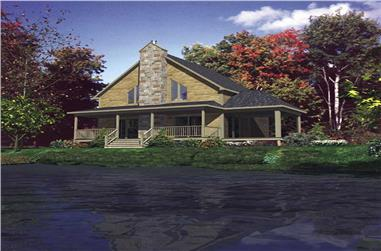 3-Bedroom, 1344 Sq Ft Log Cabin House Plan - 158-1058 - Front Exterior