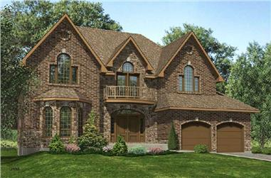 4-Bedroom, 3332 Sq Ft European House Plan - 158-1064 - Front Exterior
