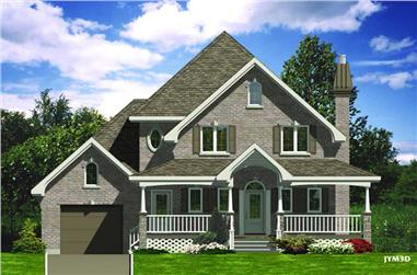 3-Bedroom, 1436 Sq Ft Country House Plan - 158-1067 - Front Exterior