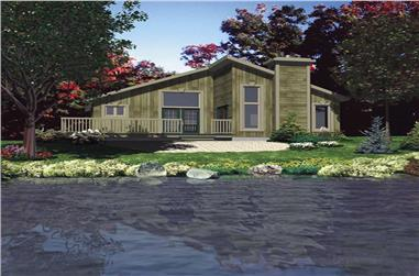 2-Bedroom, 987 Sq Ft Log Cabin Home Plan - 158-1085 - Main Exterior