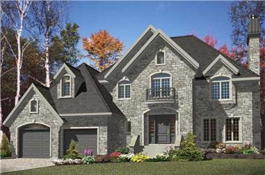 3-Bedroom, 2260 Sq Ft European House Plan - 158-1086 - Front Exterior