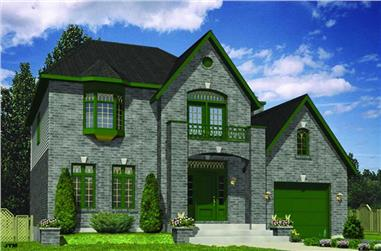 3-Bedroom, 1740 Sq Ft European House Plan - 158-1087 - Front Exterior