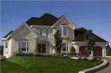 4-Bedroom, 2686 Sq Ft European House Plan - 158-1095 - Front Exterior