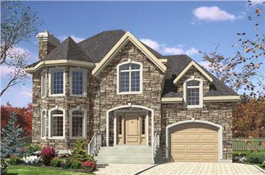3-Bedroom, 1512 Sq Ft European House Plan - 158-1099 - Front Exterior