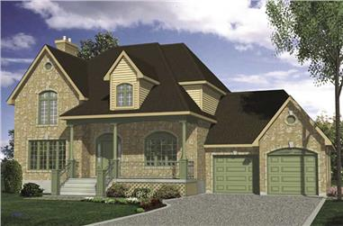 3-Bedroom, 2149 Sq Ft European House Plan - 158-1104 - Front Exterior