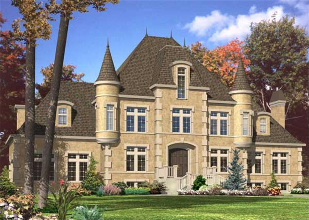 This is a computerized rendering for these Castle House Plans.