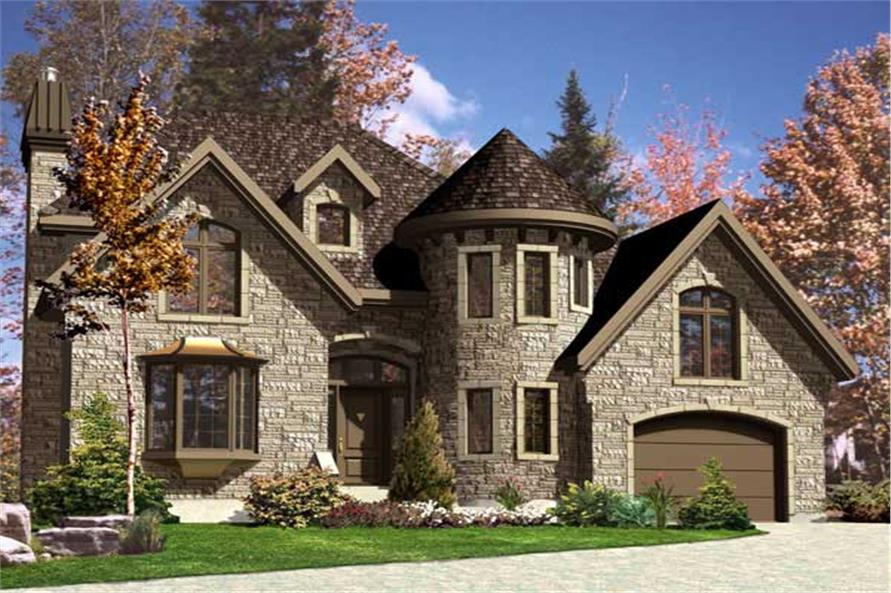 158 1109 this is the front elevation for these european house plans - European House Plans