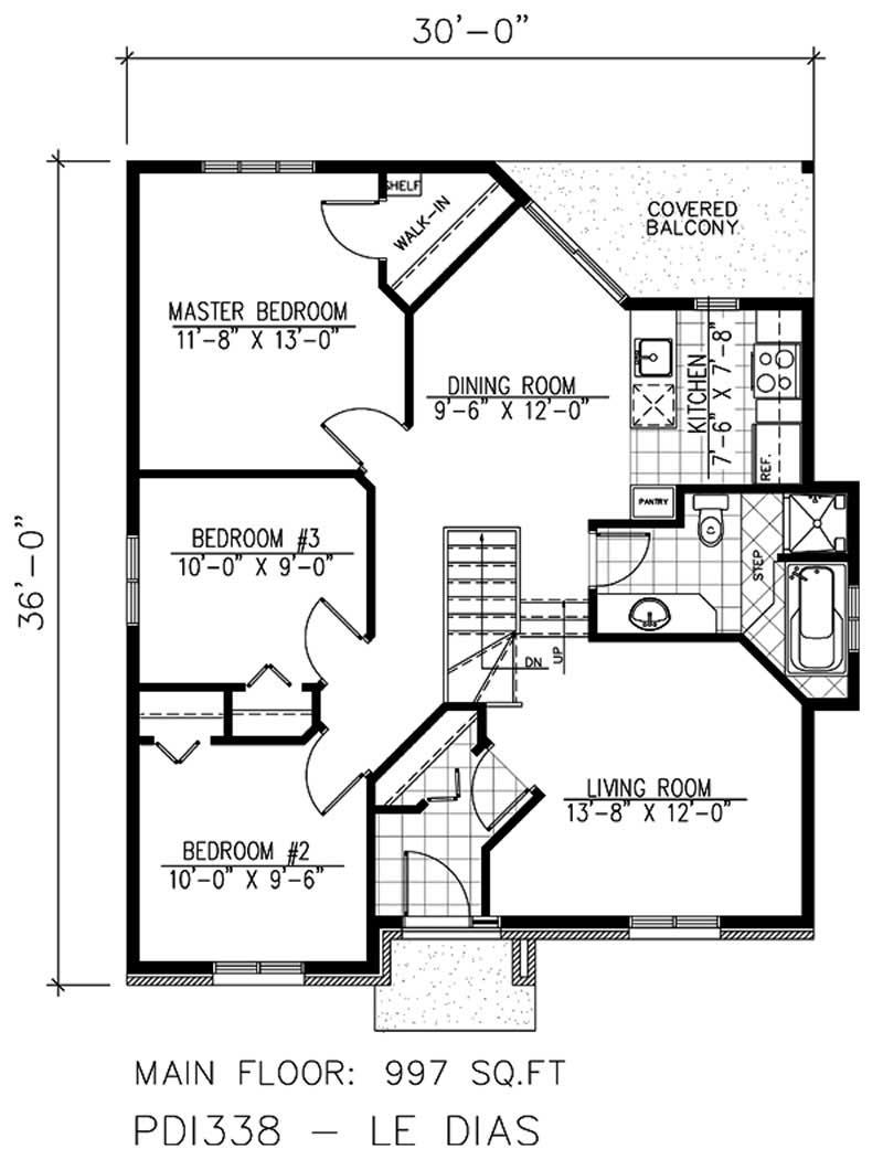 Bungalow house plan 3 bedrms 1 baths 997 sq ft 158 for 1120 westchester place floor plan