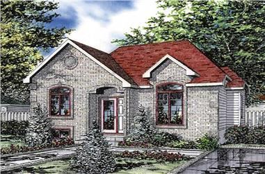 3-Bedroom, 997 Sq Ft Bungalow House Plan - 158-1120 - Front Exterior