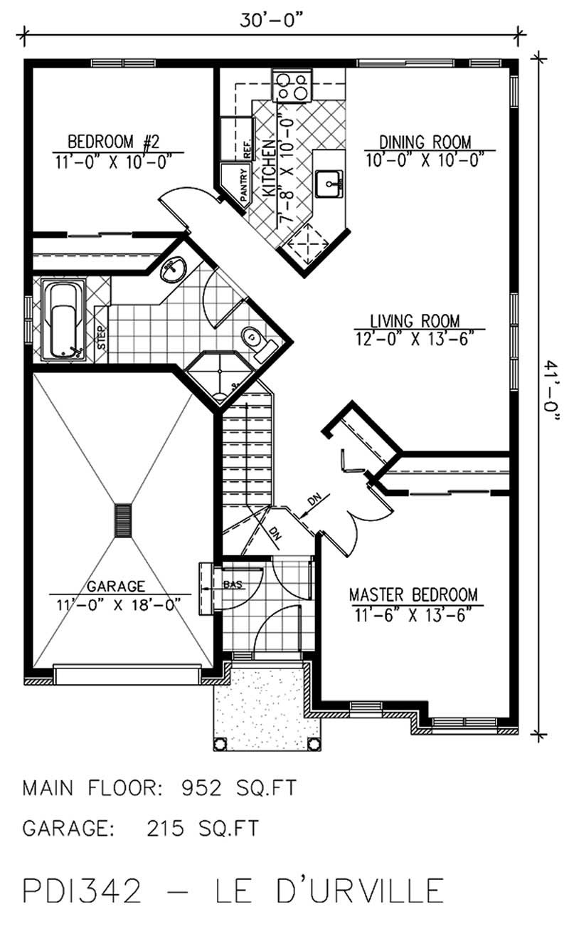 Small bungalow house plans home design pdi342 for Small bungalow house plans