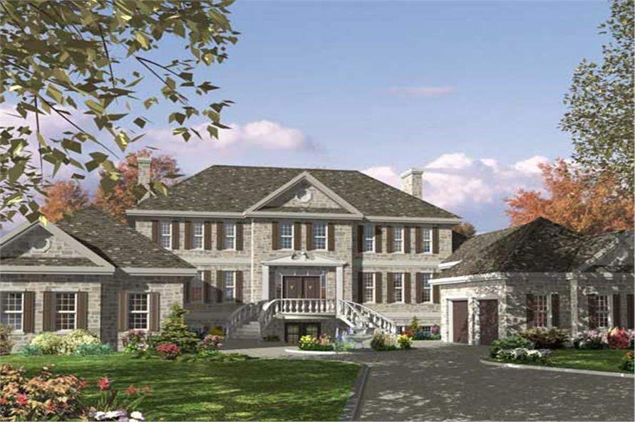 This is the front elevation for these European Home Floor Plans