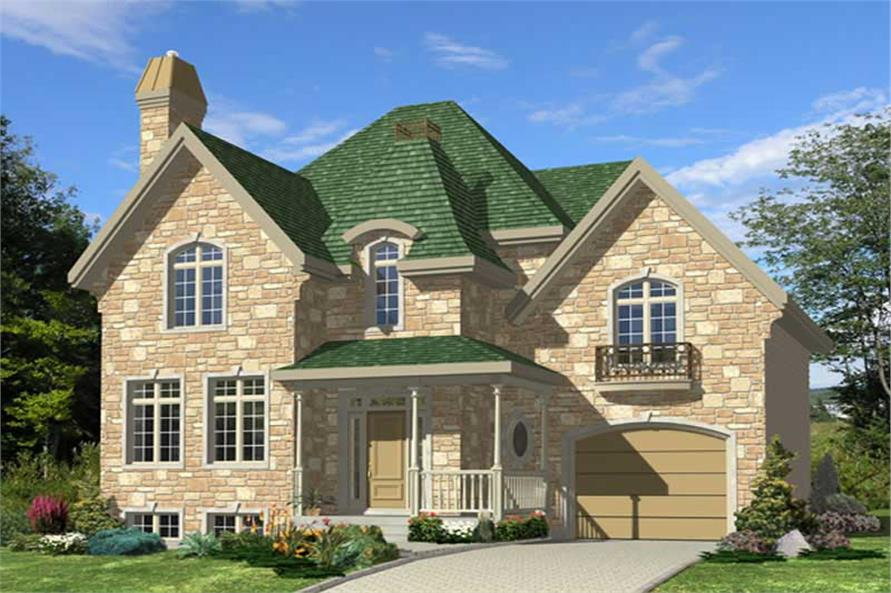 3-Bedroom, 1358 Sq Ft Country Home Plan - 158-1128 - Main Exterior
