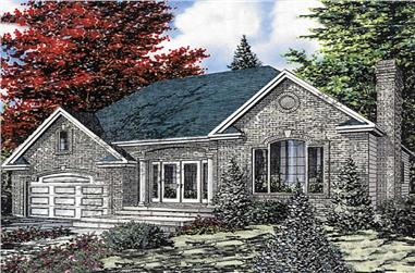 3-Bedroom, 1311 Sq Ft European House Plan - 158-1131 - Front Exterior