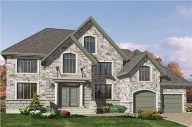 4-Bedroom, 3340 Sq Ft European House Plan - 158-1137 - Front Exterior