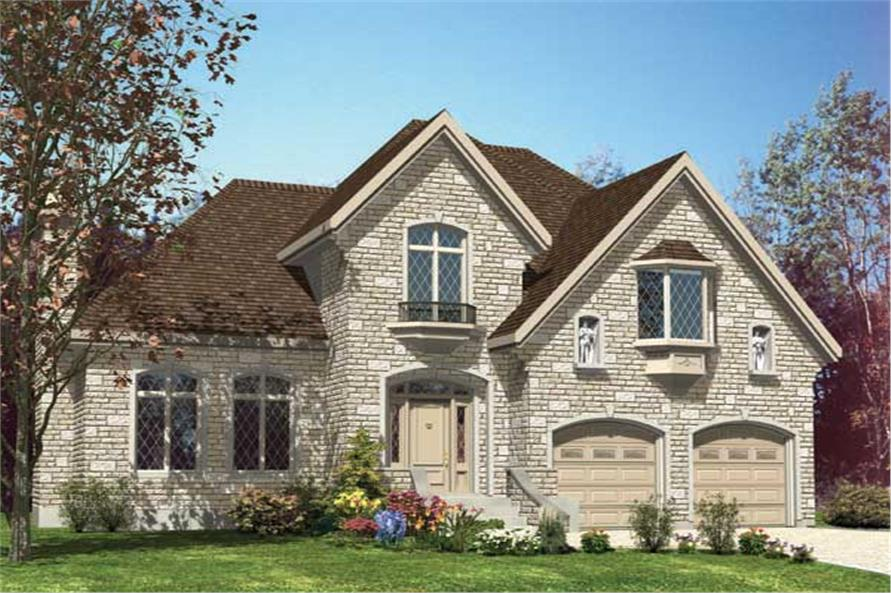 This is a computerized rendering for these Traditional House Plans.