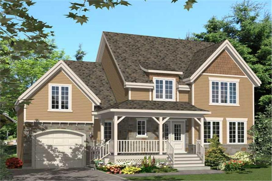 This is the front elevation for these Traditional Country House Plans.