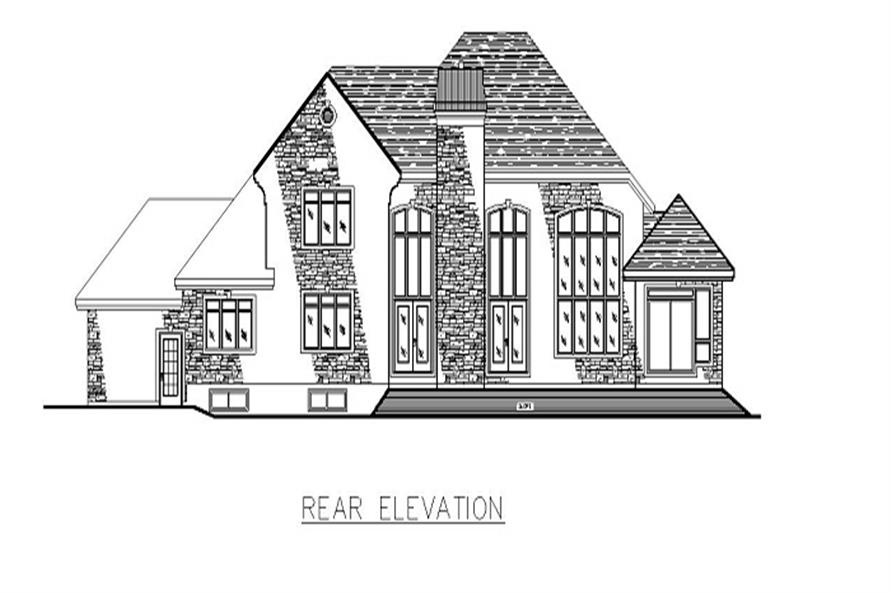 Home Plan Rear Elevation of this 3-Bedroom,3480 Sq Ft Plan -158-1147