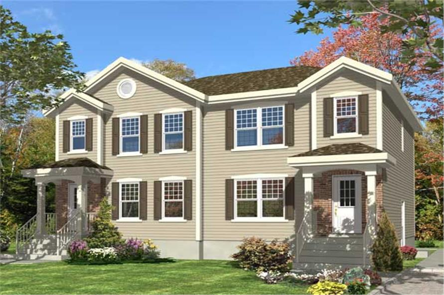 3-Bedroom, 1214 Sq Ft Multi-Unit Home Plan - 158-1152 - Main Exterior