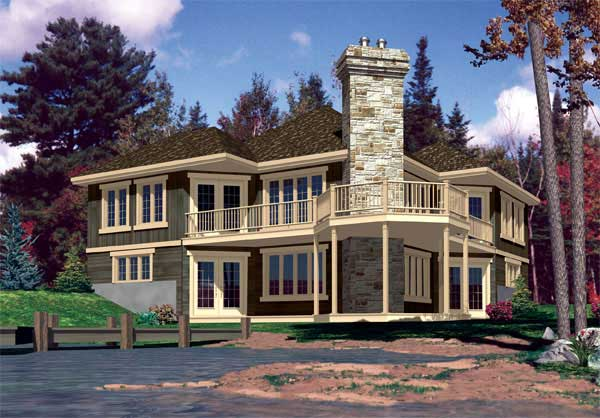 Lakefront Home Plan With Porch & Deck
