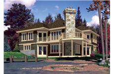 This is the rear elevation for these Lakefront House Plans.