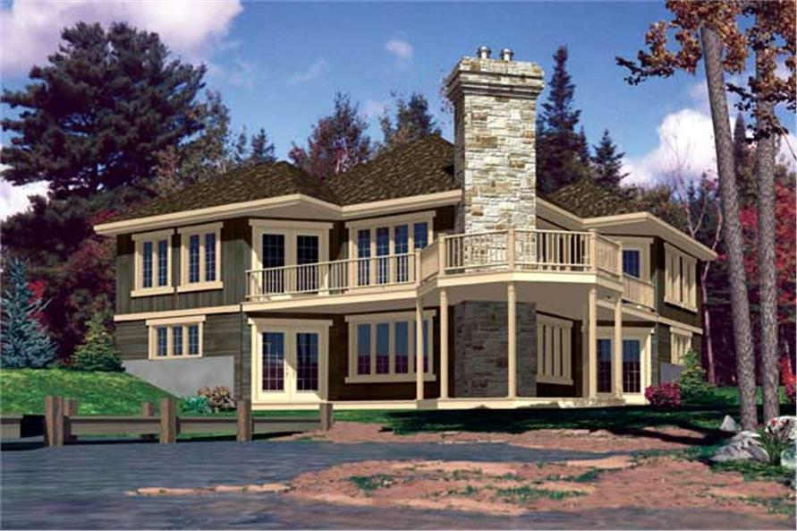 #158 1153 · This Is The Rear Elevation For These Lakefront House Plans.
