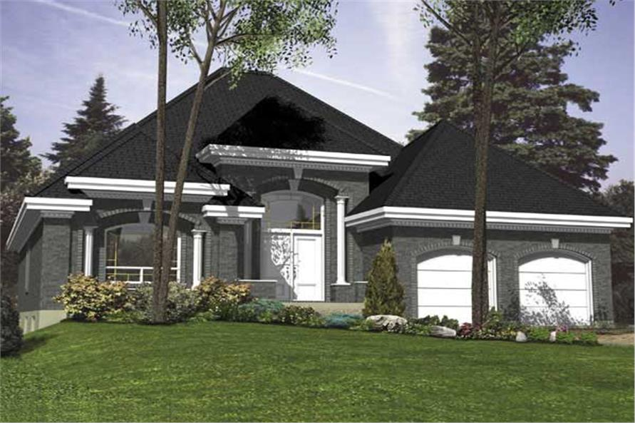 This is the front elevation for these European Home Plans.