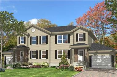 This is the front elevation for these Multi-Unit House Plans.