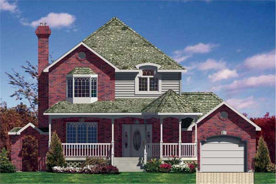 This is the front elevation for these Victorian Home Plans.