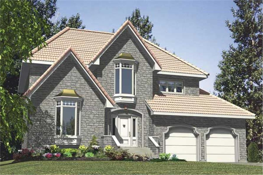 This is a computerized 3D image showing the front elevation for these Traditional House Plans.