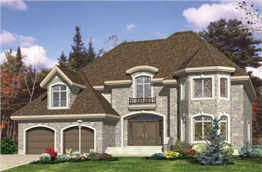 4-Bedroom, 3359 Sq Ft European House Plan - 158-1166 - Front Exterior