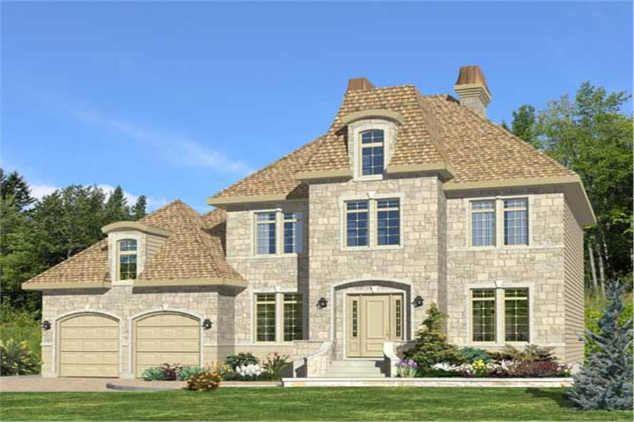 4-Bedroom, 1992 Sq Ft European House Plan - 158-1173 - Front Exterior