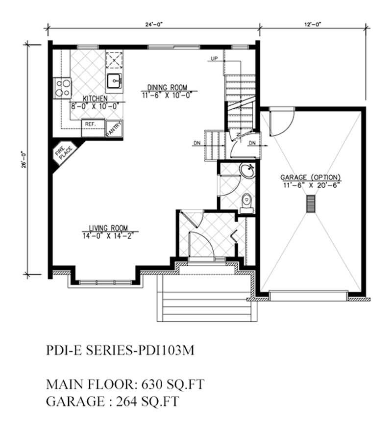 Plan W2225sl One Story Garage Apartment: Home Design PDI-E103M