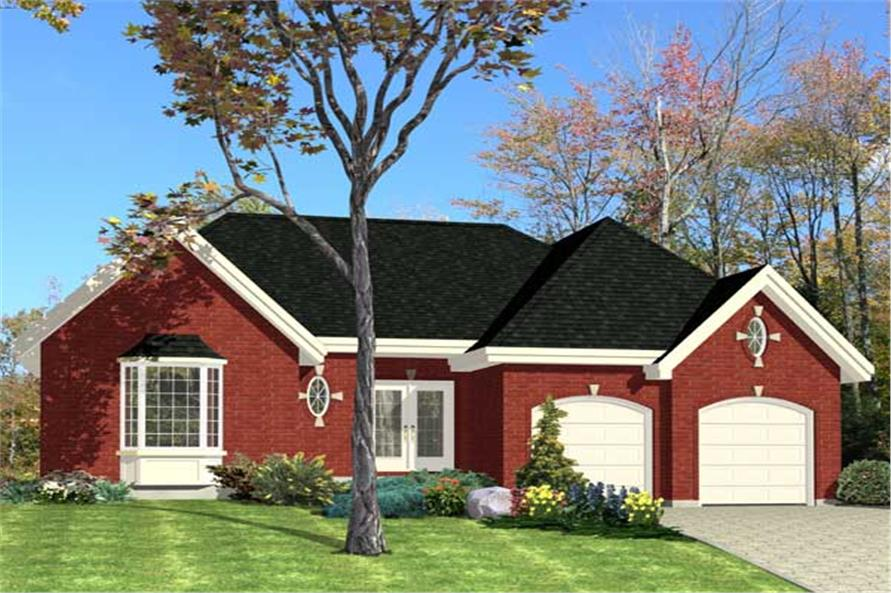 This is the front elevation (and a colorful one at that) for these Ranch Home Plans.