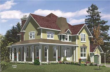 3-Bedroom, 2186 Sq Ft Country House Plan - 158-1185 - Front Exterior
