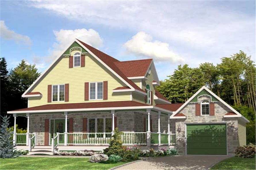 This is the front elevation for these Victorian House Plans.