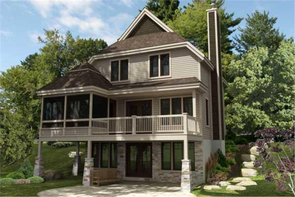This is the front elevation for these amazing Craftsman House Plans.