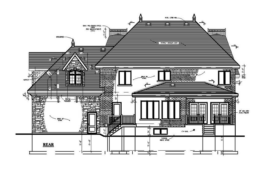Home Plan Rear Elevation of this 3-Bedroom,2783 Sq Ft Plan -158-1197