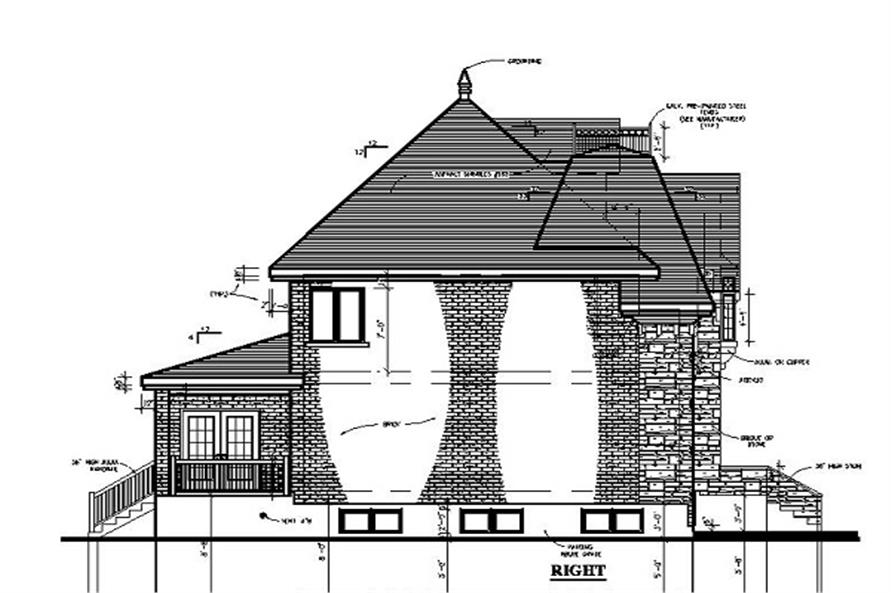 Home Plan Right Elevation of this 3-Bedroom,2783 Sq Ft Plan -158-1197
