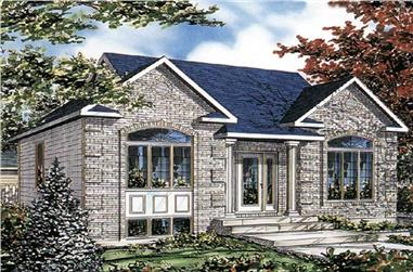 3-Bedroom, 1040 Sq Ft Bungalow House Plan - 158-1215 - Front Exterior