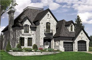 3-Bedroom, 2190 Sq Ft European Home Plan - 158-1219 - Main Exterior
