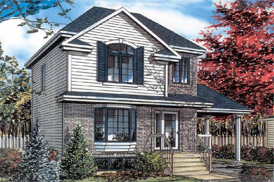 3-Bedroom, 1021 Sq Ft European Home Plan - 158-1221 - Main Exterior