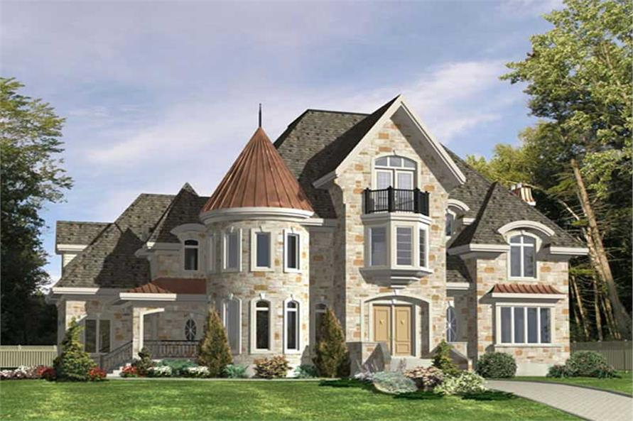 4-Bedroom, 5858 Sq Ft European House Plan - 158-1233 - Front Exterior