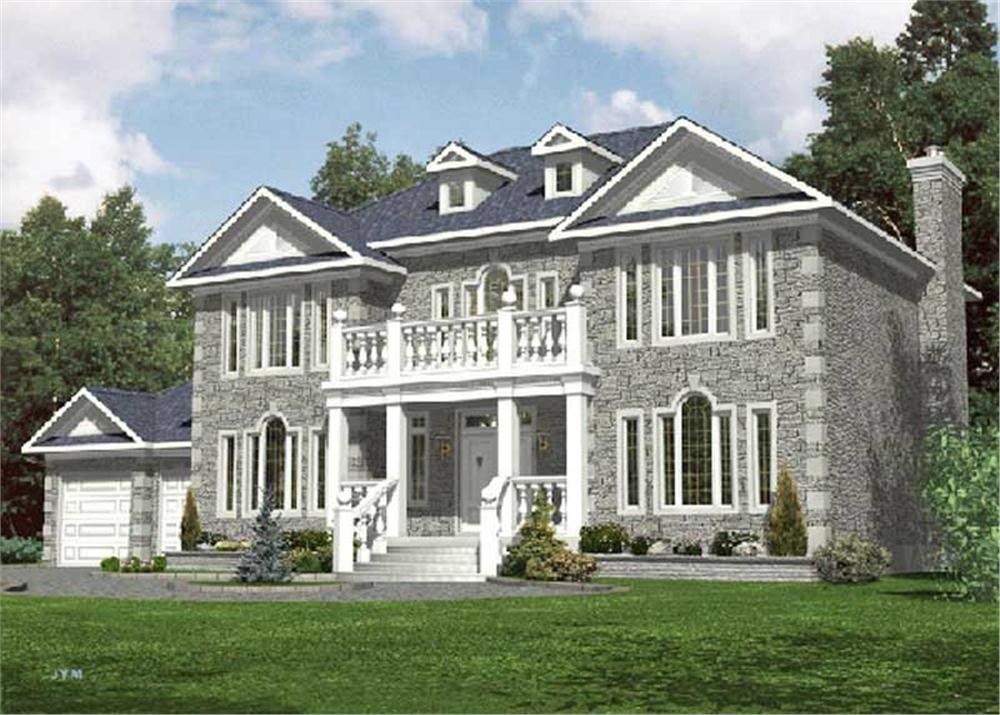 Front elevation of Colonial home (ThePlanCollection: House Plan #158-1247)