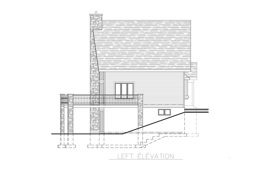 Home Plan Left Elevation of this 3-Bedroom,1094 Sq Ft Plan -158-1255