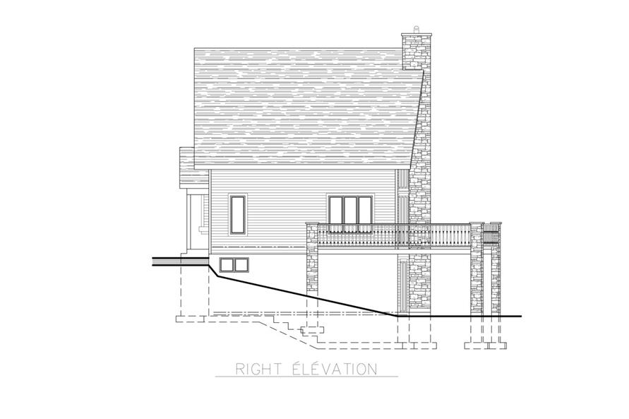 Home Plan Right Elevation of this 3-Bedroom,1094 Sq Ft Plan -158-1255