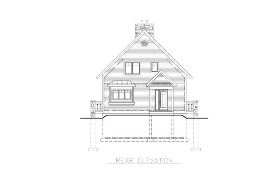 Home Plan Rear Elevation of this 3-Bedroom,1094 Sq Ft Plan -158-1255