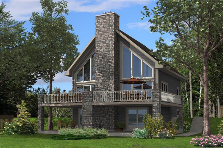 Front elevation of Vacation Homes home (ThePlanCollection: House Plan #158-1255)