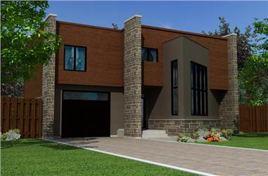 3-Bedroom, 1679 Sq Ft Contemporary House Plan - 158-1256 - Front Exterior