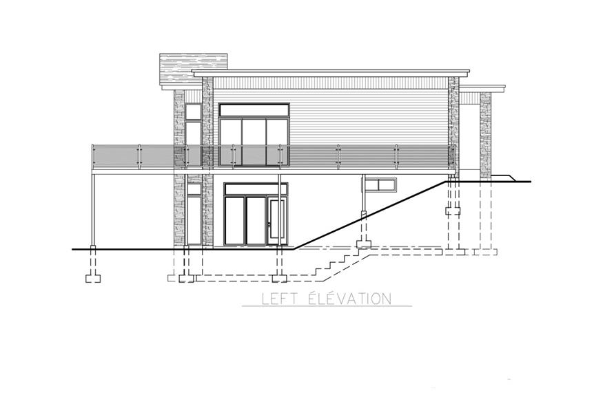 Home Plan Left Elevation of this 4-Bedroom,1744 Sq Ft Plan -158-1257